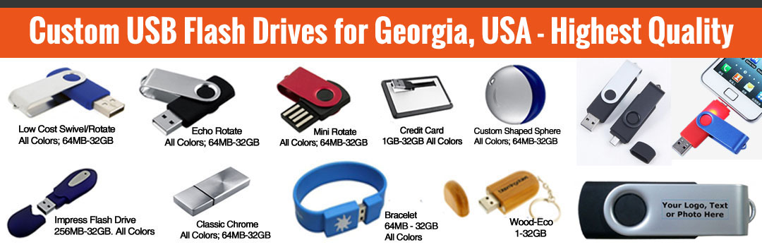 Custom USB flash drives for Georgia, USA